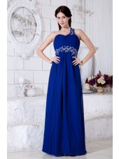 One-Shoulder/Sweetheart Sleeveless Roya-Blue Empire Chiffon Empire Floor-length Zipper Ruched/Beading/Appliques/Sequins Bridesmaid Dress