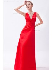 Empire Floor-length Natural V-neck Ruched Sleeveless Satin Red Zipper Bridesmaid Dress
