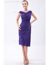 Roya-Blue Ruched/Sequins/Beadin Natural Chiffon Knee-length Sleeveless Sheath Zipper V-neck Bridesmaid Dress