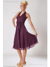 Zipper Chiffon Empire Sleeveless Knee-length A-line Fuchsia Ruched/Bow Halter Bridesmaid Dress