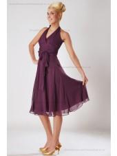 Zipper Chiffon Empire Sleeveless Knee-length A-line Fuchsia Ruched/Bow Halter Bridesmaid Dress