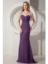 A-line Floor-length Sleeveless Zipper Ruched Grape Natural Chiffon Sweetheart Bridesmaid Dress