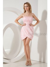 Mini Spaghetti-Straps Zipper Natural Organza/Satin Ruched Pink Sleeveless Sheath Bridesmaid Dress