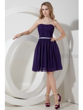 A-line Grape Sleeveless Natural Chiffon Zipper Strapless Knee-length Ruched/Belt Bridesmaid Dress