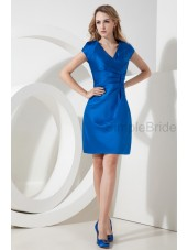 Zipper V-neck Satin Knee-length Ruched Sheath Short-Sleeve Roya-Blue Natural Bridesmaid Dress
