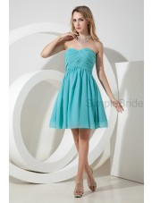 Empire Knee-length Sleeveless Chiffon Ruched Zipper Sweetheart A-line Blue Bridesmaid Dress