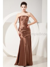 Zipper Ruched Strapless Natural Elastic-Silk-like-Satin Floor-length Sleeveless Sheath Brown Bridesmaid Dress
