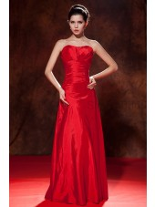 Taffeta Sweetheart Floor-length Empire Sleeveless Red Zipper Empire Ruched Bridesmaid Dress