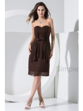 Knee-length Zipper Elastic-Silk-like-Satin/Chiffon Natural Sleeveless Sweetheart Bow Brown Ruched Sheath Bridesmaid Dress