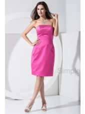 Natural Zipper Fuchsia Strapless Sheath Sleeveless Knee-length Satin Bridesmaid Dress