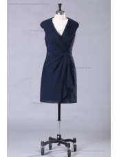 Navy Ruffles/Front-Cross V-neck Dark Sheath Chiffon/Elastic-Satin Natural Sleeveless Zipper Mini Bridesmaid Dress