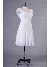 Natural Ruffles A-line Chiffon/Elastic-Satin Zipper Ivory Mini Sweetheart Sleeveless Bridesmaid Dress