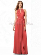Chiffon Zipper Draped Floor-length A-line Halter Natural Watermelon firecracker Sleeveless Bridesmaid Dress