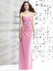 Sleeveless Draped carnation Zipper Chiffon Dropped Sweetheart Column/Sheath Floor-length Pink Bridesmaid Dress