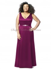Straps Floor-length grape Sleeveless Satin merlot Zipper A-line Beading/Sash Natural Bridesmaid Dress