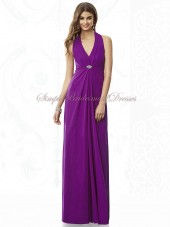 Draped/Beading Chiffon Floor-length A-line Halter/V-neck Purple Empire Zipper dahlia Sleeveless Bridesmaid Dress