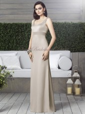 Champagne Sash/Beading Satin Straps sand Floor-length Empire Zipper Column/Sheath Sleeveless Bridesmaid Dress