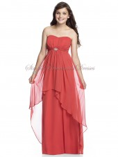 Empire Draped/Beading Floor-length firecracker A-line Watermelon Chiffon Zipper Strapless/Sweetheart Sleeveless Bridesmaid Dress