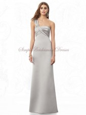 Flowers One-Shoulder Sleeveless Satin Empire Silver Column/Sheath Floor-length Zipper oyster Bridesmaid Dress
