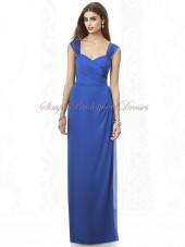 Natural sapphire Column/Sheath Royal-Blue Zipper Floor-length Ruched/Bow Chiffon Sleeveless Straps Bridesmaid Dress