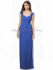Natural sapphire Column/Sheath Royal-Blue Zipper Floor-length Ruched/Bow Chiffon Sleeveless Straps Bridesmaid Dress