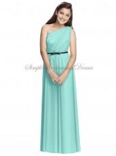 Coastal A-line Floor-length Sleeveless Draped/Sash Zipper Blue Natural Chiffon One-Shoulder Bridesmaid Dress
