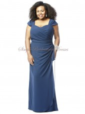 Blue Zipper Floor-length Natural Short-Sleeve Column/Sheath Draped Straps/Sweetheart sailor Chiffon Bridesmaid Dress