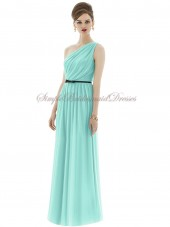 Floor-length Blue Chiffon Coastal One-Shoulder Draped/Sash Natural Zipper Sleeveless Column/Sheath Bridesmaid Dress