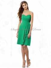 PANTONE-Emerald A-line Green Draped Sleeveless Knee-length Chiffon Dropped Zipper Strapless/Sweetheart Bridesmaid Dress