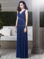 Straps/V-neck Zipper Chiffon A-line Estate-Blue Draped Blue Dropped Sleeveless Floor-length Bridesmaid Dress