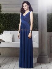 Straps/V-neck Zipper Chiffon A-line Estate-Blue Draped Blue Dropped Sleeveless Floor-length Bridesmaid Dress