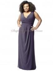 Floor-length A-line Empire Zipper Straps/V-neck Chiffon stormy Sleeveless Grey Draped Bridesmaid Dress
