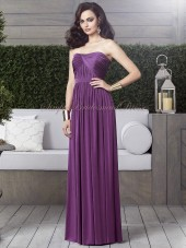 Floor-length Sleeveless african-violet Bateau/Strapless Draped/Sash Chiffon A-line Backless Natural Purple Bridesmaid Dress
