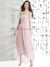 Zipper Strapless/Sweetheart A-line Tea-length Pink Draped Chiffon blush Natural Sleeveless Bridesmaid Dress