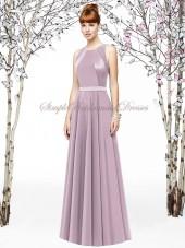Sleeveless Floor-length Lavender Chiffon A-line suede-rose Zipper Natural Draped Scoop Bridesmaid Dress