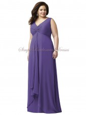 regalia Straps/V-neck Floor-length Chiffon Empire Zipper Sleeveless Draped A-line Purple Bridesmaid Dress