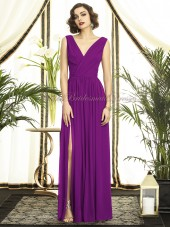 A-line Empire Sleeveless Draped/Split Purple dahlia Zipper Straps/V-neck Floor-length Chiffon Bridesmaid Dress