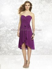 Purple Strapless/Sweetheart A-line Draped/Bow Sleeveless Natural Knee-length Zipper Chiffon persian-plum Bridesmaid Dress