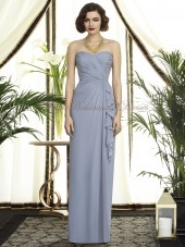 Dropped Draped Column/Sheath Silver Sleeveless Floor-length platinum Zipper Chiffon Strapless/Sweetheart Bridesmaid Dress