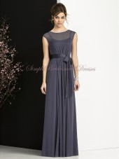 Zipper Floor-length Sleeveless stormy Natural Bateau Grey Sash/Bow A-line Chiffon Bridesmaid Dress