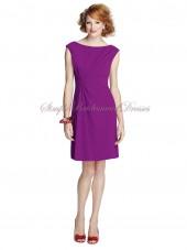 Purple Zipper Chiffon Dropped Short-length dahlia Draped Mini Sleeveless Bateau Bridesmaid Dress