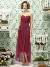 Chiffon Natural Sleeveless Zipper Strapless/Sweetheart Tea-length Draped Burgundy claret A-line Bridesmaid Dress