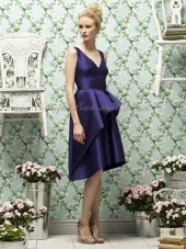 Knee-length Zipper grape Straps/V-neck Natural A-line Satin Sleeveless Grape Layers Bridesmaid Dress
