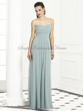 Zipper A-line Blue Strapless/Sweetheart Empire Floor-length Sleeveless Draped icelandic Chiffon Bridesmaid Dress