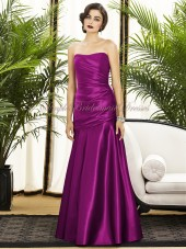 Sleeveless Floor-length Ruched A-line Dropped Fuchsia Strapless Zipper persian-plum Satin Bridesmaid Dress