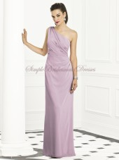 Dropped Draped One-Shoulder Chiffon Zipper suede-rose Sleeveless Floor-length Column/Sheath Lavender Bridesmaid Dress