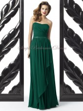 A-line Dark Chiffon Green hunter Zipper Floor-length Sleeveless Dropped Draped/Sash Strapless Bridesmaid Dress