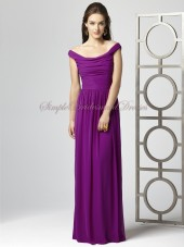 Ruched Natural Zipper Chiffon A-line persian-plum Purple Sleeveless Floor-length Bateau Bridesmaid Dress