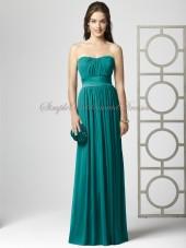 A-line Empire jade Strapless/Bateau Draped/Sash Sleeveless Zipper Hunter Floor-length Chiffon Bridesmaid Dress