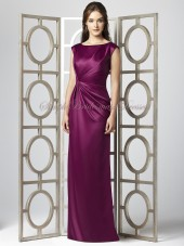 Zipper Satin Grape / Purple Dropped Bateau Floor-length Sleeveless Draped Column/Sheath merlot Bridesmaid Dress